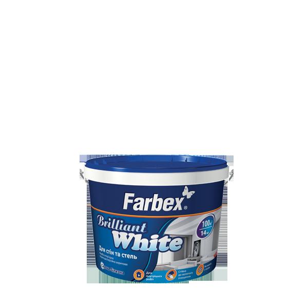 """Краска латексная белоснежная ТМ """"Farbex"""" Brilliant White - 1,4 кг."""