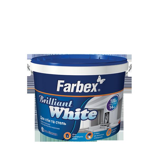 """Краска латексная белоснежная ТМ """"Farbex"""" Brilliant White - 7,0 кг."""
