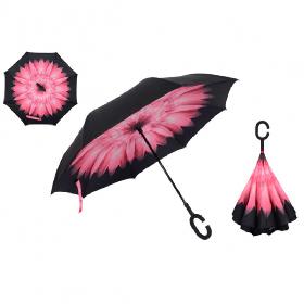 Зонт наоборот с Розовым цветком || Up-brella (анти-зонт)