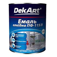 """Эмаль алкидная ПФ-115 TM """"DekArt"""" желтая - 0,9 кг."""