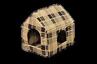 """Домик-лежак (лежанка) для котов и собак Мур-Мяу """"Будочка"""" Бежево-коричневый"""