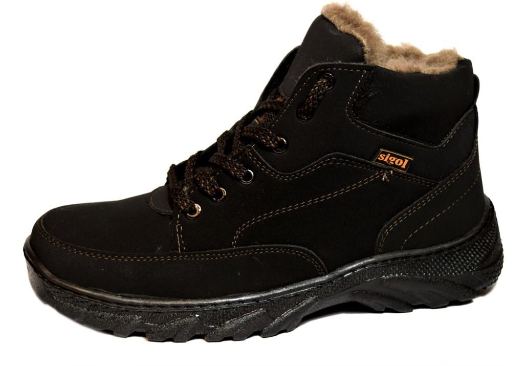 Мужские ботинки зимние эко-нубук утепленные