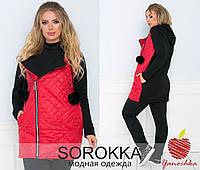Женская куртка на молнии с меховыми балабонами, фото 1