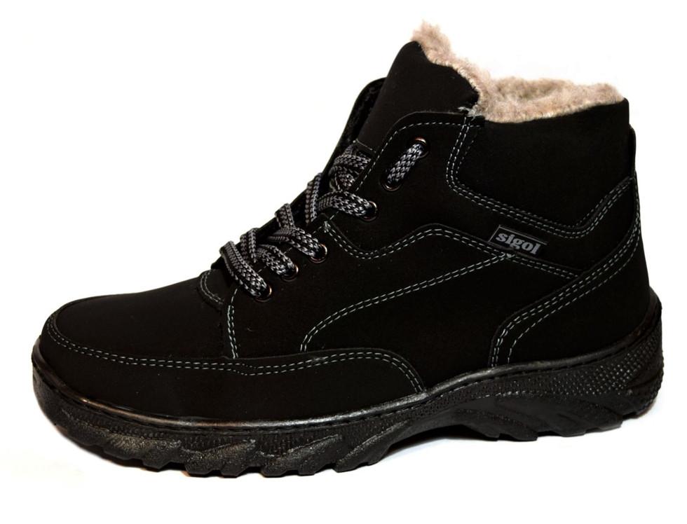 Ботинки мужские черные из Эко-нубука