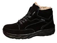 Ботинки зимние мужские - черный нубук