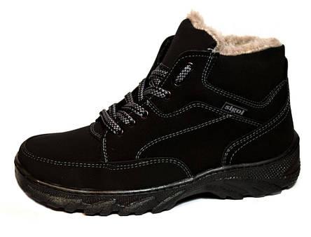 Ботинки мужские черные из Эко-нубука, фото 2