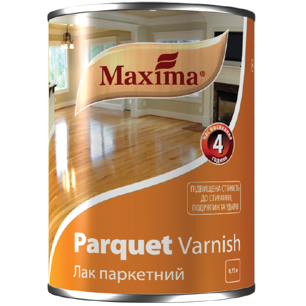 """Лак паркетный алкидно-уретановый TM """"Maxima"""" полуматовый - 0,75 л"""