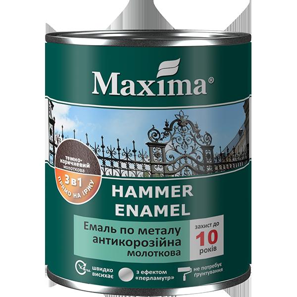 """Эмаль антикоррозийная по металлу с молотковым эффектом TM """"Maxima"""" бордо - 0,75 кг."""