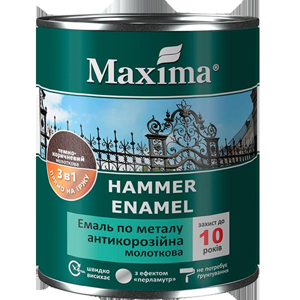 """Эмаль антикоррозийная по металлу с молотковым эффектом TM """"Maxima"""" темно-коричневая - 2,5 кг."""
