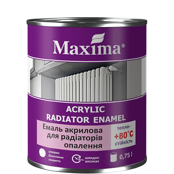 """Эмаль акриловая для радиаторов TM """"Maxima"""" - 0,4 кг."""