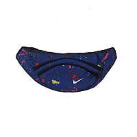 Сумка на пояс, бананка Nike краски синяя, на 2 отделения (реплика), фото 1