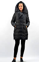 Пуховик женский черного цвета с высоким воротником ТМ Bei Bei артикул 8007, размеры: S, M, L, XL, XXL.