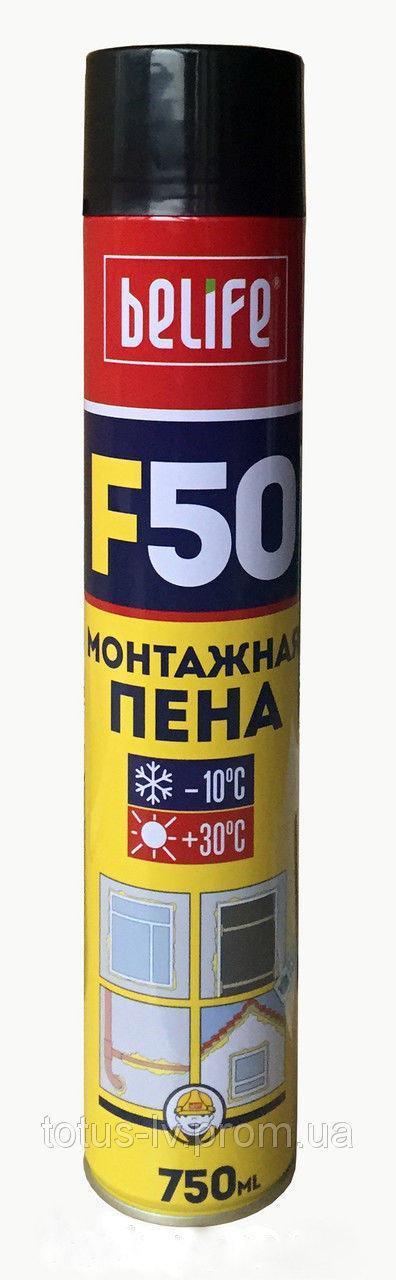 """Пена монтажная бытовая ТМ """"BeLife"""" (выход 50 л.) - 750 мл."""