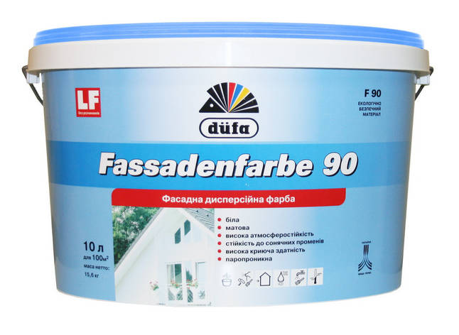 "Краска фасадная ТМ ""DUFA"" Fassadenfarbe F90 - 2,5 л., фото 2"