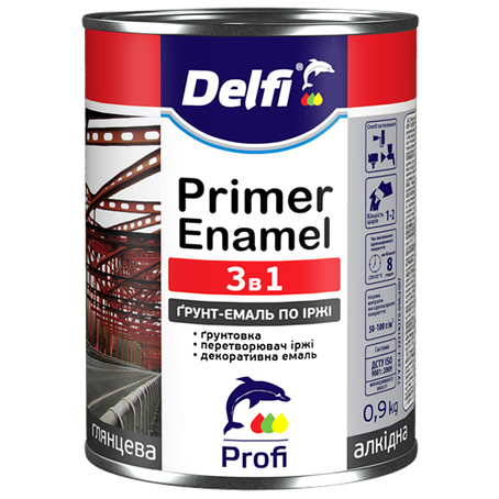 """Грунт-эмаль 3 в 1 TM """"Delfi"""" черная RAL 9005 - 2.8 кг., фото 2"""