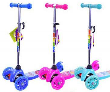 Самокат 4 вида,Frozen,Barbie,Hot Wheels,3 колеса PU свет /6/