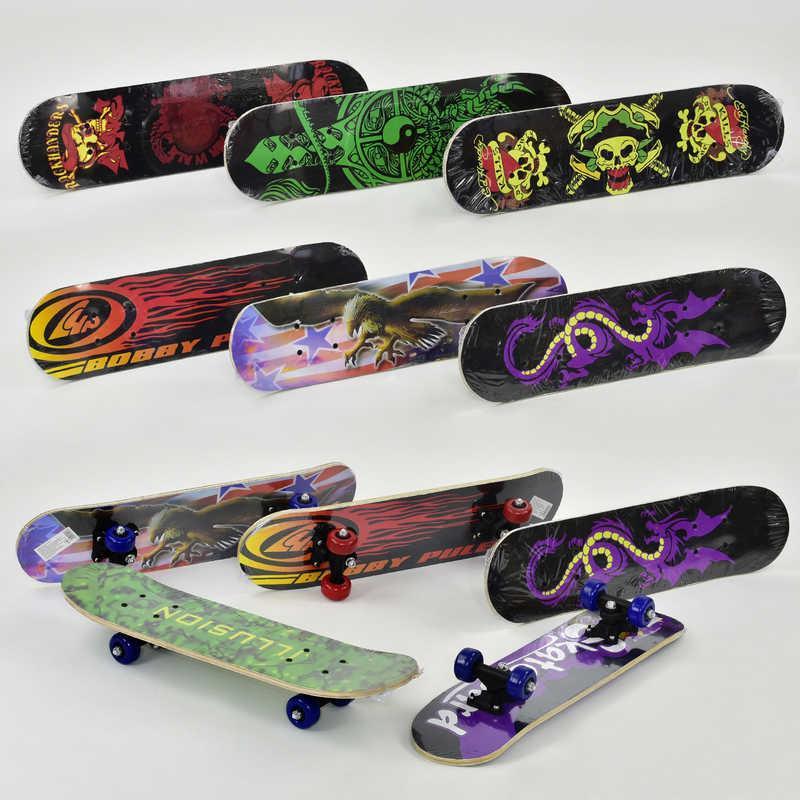Скейт 8 видов, колесо d=5cm, PVC, длина доски =60см в п/э /24/