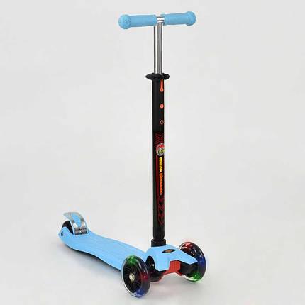 Самокат MAXI Best Scooter ГОЛУБОЙ, пластмас, свет. колеса PU, трубка руля алюминиевая, в кор. 59*17*26см /8/, фото 2