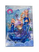 Набор кукла defa 21011 Русалочка в синем меняет цвет волос с аксессуарами