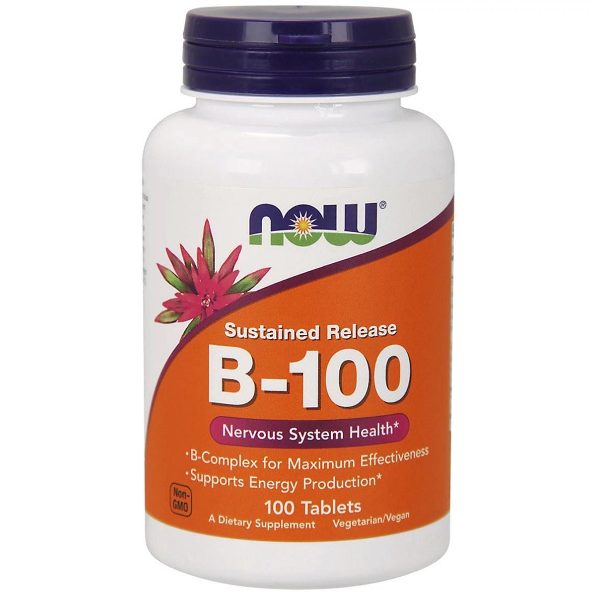 В-Комплекс Медленного Высвобождения, B-100, Now Foods, 100 таблеток / Комплекс Б-100