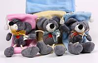 Махровый подарочный мешочек с завязкой, крыса(мышка) с сердечком