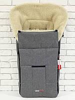 Зимний конверт на овчине в коляску Z&D New Лен Серый, фото 1