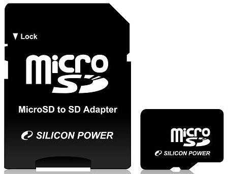 Flash карта microSDHC 16GB SiliconPower Class 4 + SD-adapter (SP016GBSTH004V10-SP)