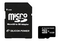 Flash карта microSDHC 16GB SiliconPower Class 10 + SD-adapter (SP016GBSTH010V10-SP)