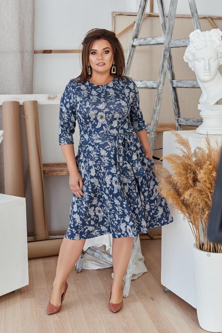 Женское ангоровое платье под пояс с карманами 48, 50, 52, 54