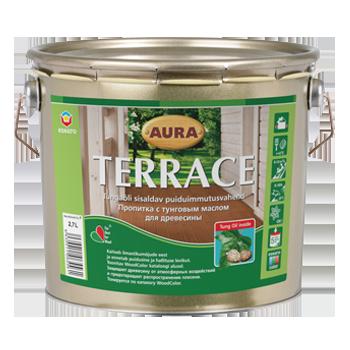 """Масло для террас ТМ """"Aura"""" Terrace (коричневая) - 9,0 л."""