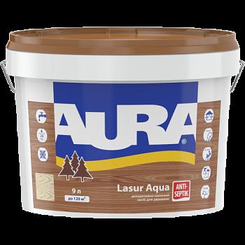 "Декоративно-защитное средство ТМ ""Aura"" Lasur Aqua (полисандр) - 9,0 л."