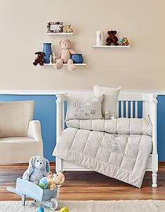Детский набор в кроватку для младенцев Karaca Home - Cloudy 2018-2 бежевый (4 предмета)