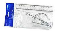 Линейки набор 8010 (8011), 4предмета - линейка 20см +транспортир +2треугольника пластик прозрачный уп24