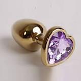 Анальная пробка металл сердечко золотая S, фото 2