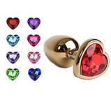 Анальная пробка металл сердечко золотая S, фото 4