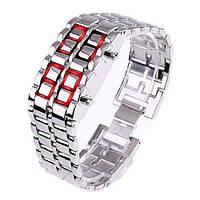 Часы-браслет Iron Samurai, Айрон Самурай серебристый с красными светодиодами