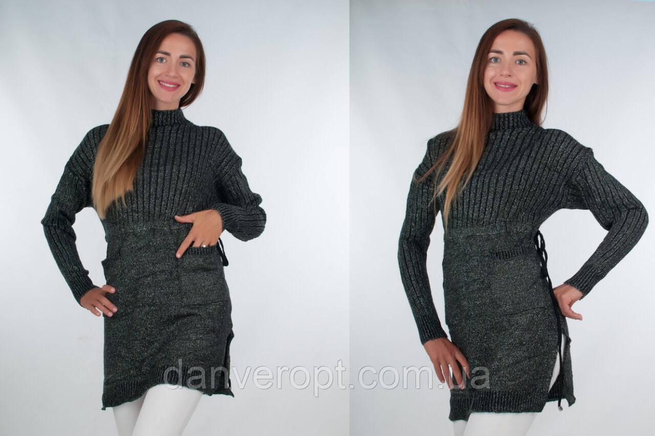 Туника женская молодёжная вязанная размер универсальный 44-50 купить оптом со склада 7км Одесса