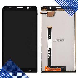 Дисплей Asus ZenFone 2 (ZE551ML) с тачскрином в сборе, цвет черный, копия высокого качества