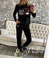 Женский осенний спортивный костюм с надписями двухнить красный черный 42  44 46 48, фото 1