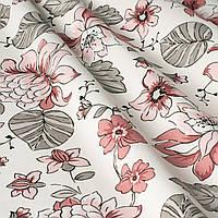 Декоративная ткань с мелкими розовыми цветами на белом Турция 84490v2