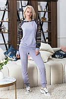 Женский  спортивный костюм с капюшоном ангора серый меланж беж 42-44 44-46, фото 1
