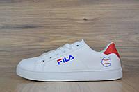 Кеды мужские в стиле Fila код товара OD-1517. Белые с синим и красным