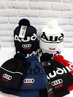 Коплект для подростка шапка и баф (хомут) Audi