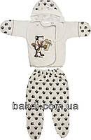 Детский костюм с начёсом рост 62 (2-3 мес.) футер молочный на мальчика/девочку (комплект на выписку) для новорожденных М-236