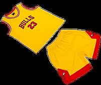 Форма баскетбольная подростковая NBA BULLS (р-р M-130-140 см, желтый-красный) для игор и тренеровок