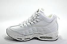 Зимние белые кроссовки в стиле Nike Air Max 95, на меху (White), фото 3