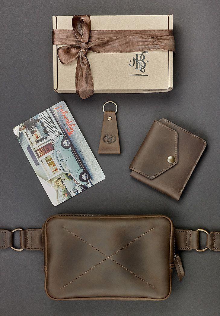 """Подарочный набор кожаных аксессуаров """"Орландо"""": сумка поясная, портмоне и брелок"""