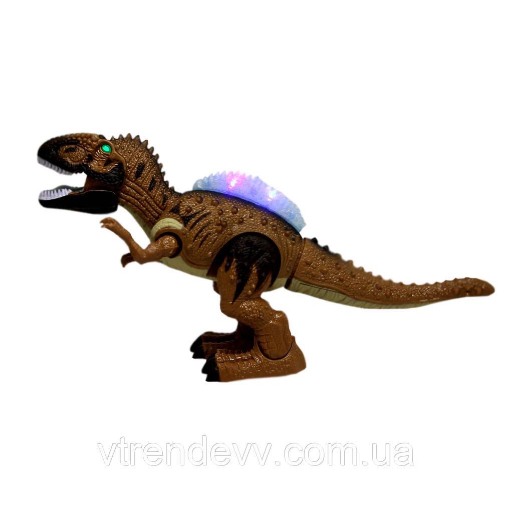 Динозавр интерактивный с гребнем Quois Dinosaur Allosaurus со светом и звуком коричневый