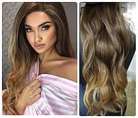Волосы трессы на заколках ТЕРМО 7 прядей  омбре балаяж №14Т27 длина 50см русый концы золотистый