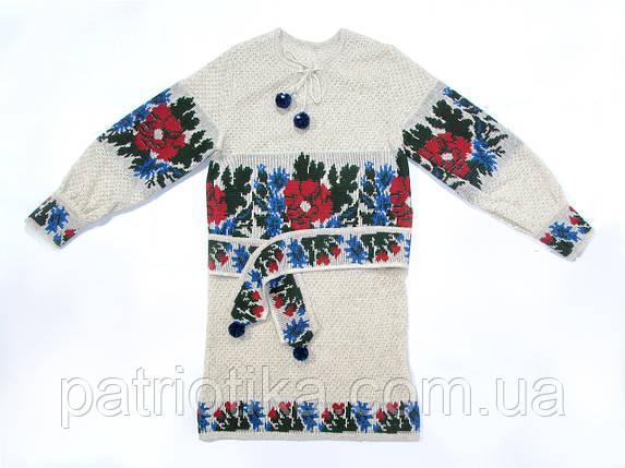 Платье вязаное для девочки Васильки | Плаття в'язане для дівчинки Волошки, фото 2